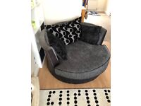 2 dfs cayenne range cuddle chairs and footstool. Good condition