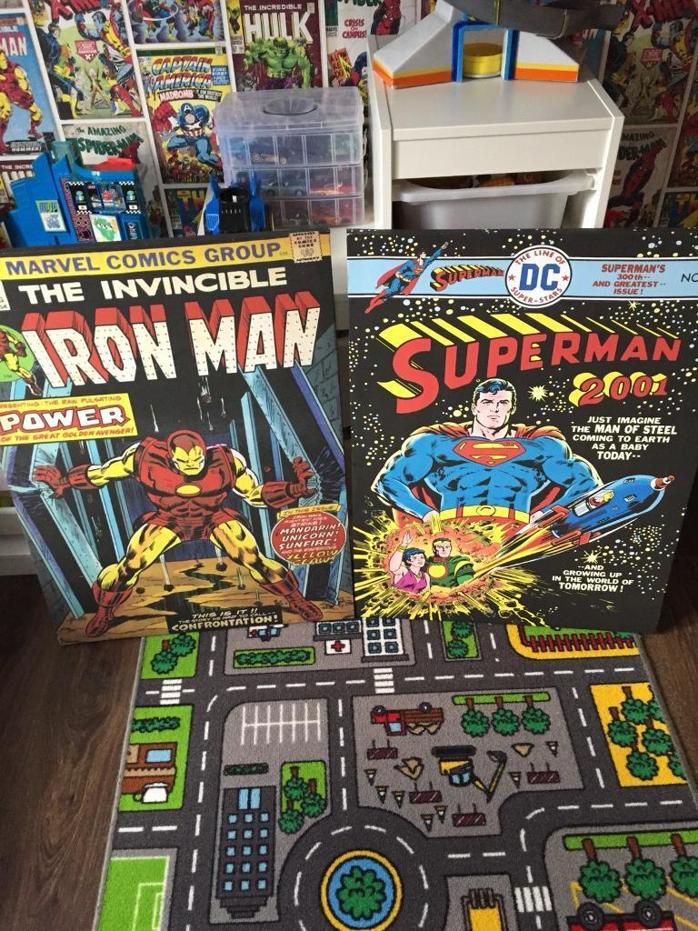 2 big superhero canvases