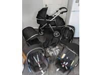 oyster max 2 twin tandem double pram pushchair travel system 3in1 black unisex maxi britax newborn