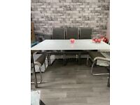 Chrome / glass dining table