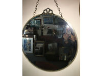 Gorgeous Vintage Round Art Deco Frameless Bevelled Edge Wall Mirror with Chrome Crest and Rim Frame