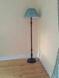 Wooden antique style standard lamp & shade
