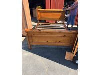 Solid Pine Double Sleigh Style Bed