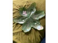Akcam Iridescent green leaf dish centre piece bowl