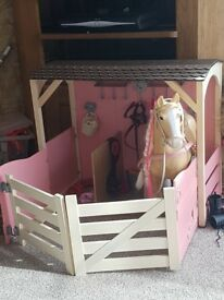 Our generation wooden stable included accessories and large horse
