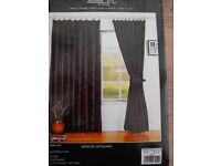 1 Pair of NEW in packaging PLUMB/BLACK Lined CURTAINS 90inch's x 90inch's