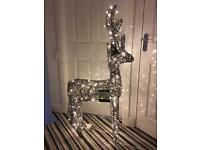 4 ft high grey rattan light up reindeer