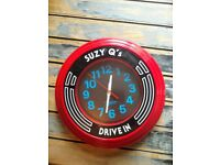 Red retro Suzy Q wall clock