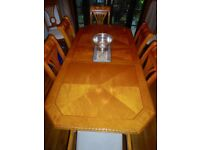 Yew Dining Table and 8 Chairs