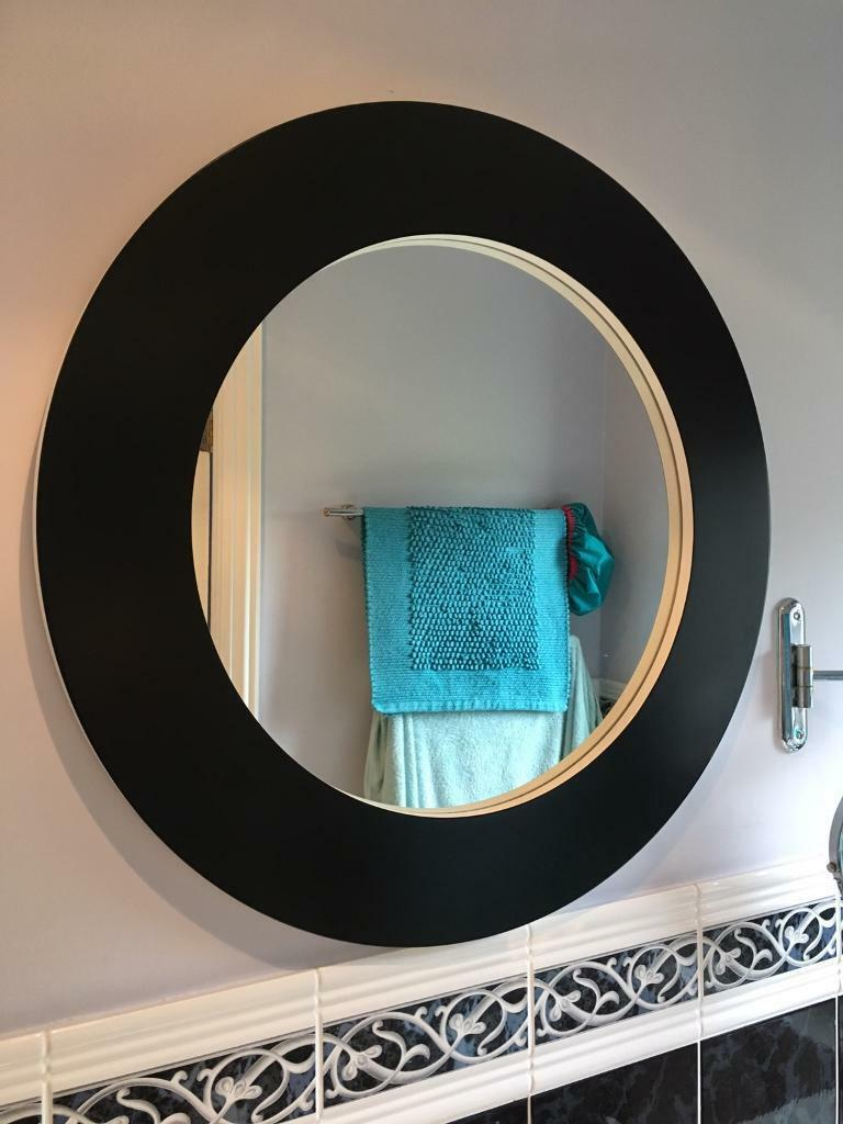 Ikea Round Mirror In Excellent Condition Black Painted Frame Overall Diameter 70cm