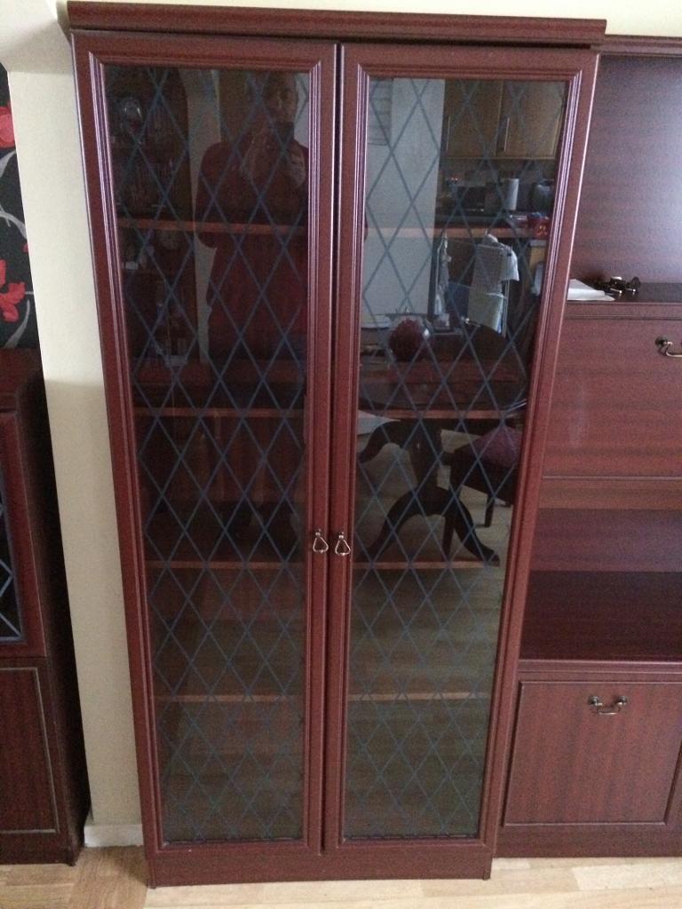 Full size Mahogany Veneer glass cabinet