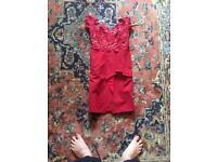 Elle Zeitoune designer Tango Red Off the Shoulder split dress Open to offers