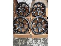 17 inch GTR SPORT ALLOY WHEELS ALLOYS/RIMS IN BLACK Racing fits HONDA - NISSAN RENAULT - FIAT LOTUS