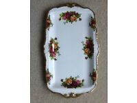 ROYAL ALBERT OLD COUNTRY ROSES CHINA ONE OBLONG SANDWICH TRAY 29cm x18cm EXCELLENT CONDITION