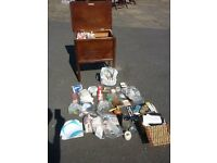 NEEDLEWORK BOX FULL OF EQUIPMENT/MATERIALS AMAZING ARRAY COLLECTED OVER A LIFE TIME