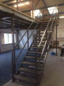 MEZZANINE FLOOR 10M X 4M WITH STAIRS DISMANTLED. REDUCED( STORAGE , PALLET RACKING )