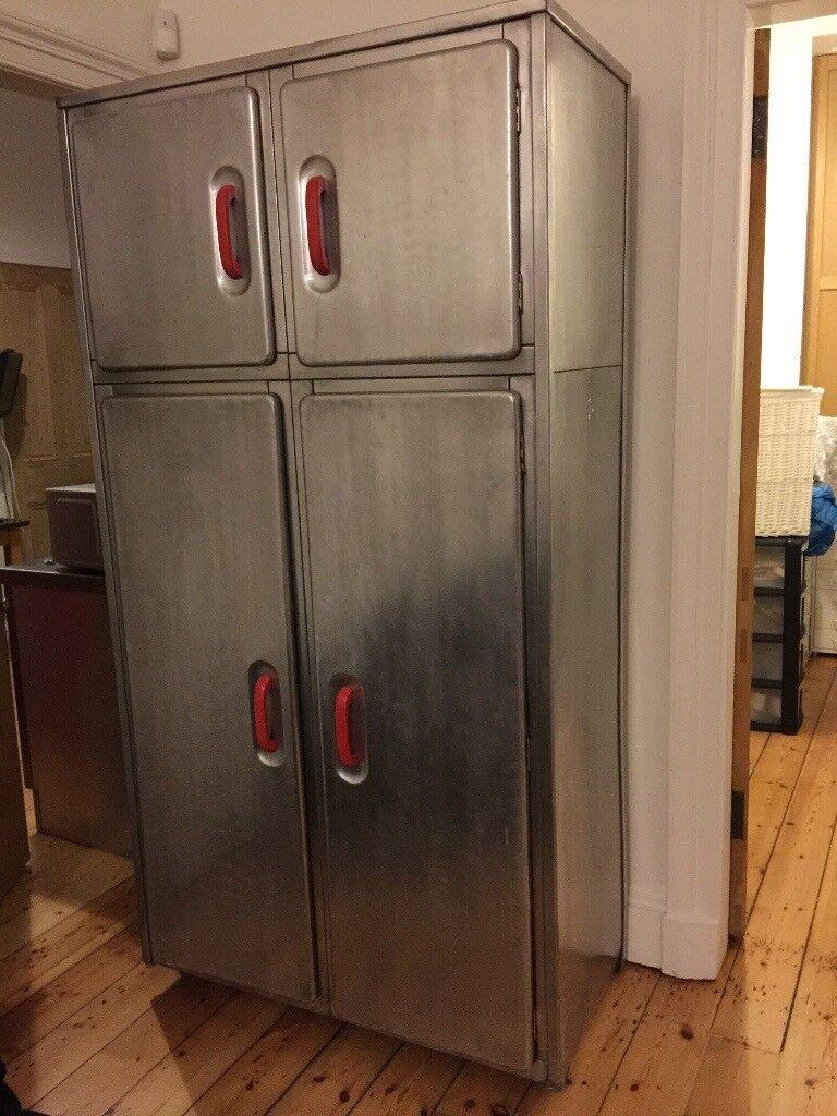 Vintage aluminium metal kitchen cabinet wardrobe antique ...