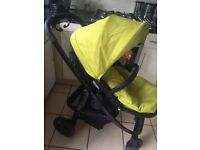 Graco Evo pushchair in black& lime with footmuff and raincover