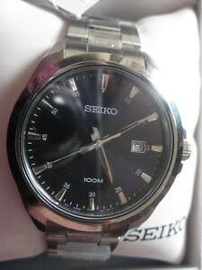 Seiko Men Classic Stainless Steel Blue Dial Quartz Watch with Date. 100M Water Resistant. 42mm. Hardlex Crystal. NEW