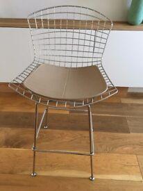 Bar stool - polished chrome and beige leather