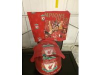 Single liverpool bedding curtains and beanbag