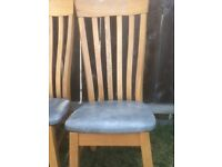 6 x oak dining chairs with grey seats