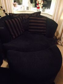 Large Dfs cuddle chair and half moon puff