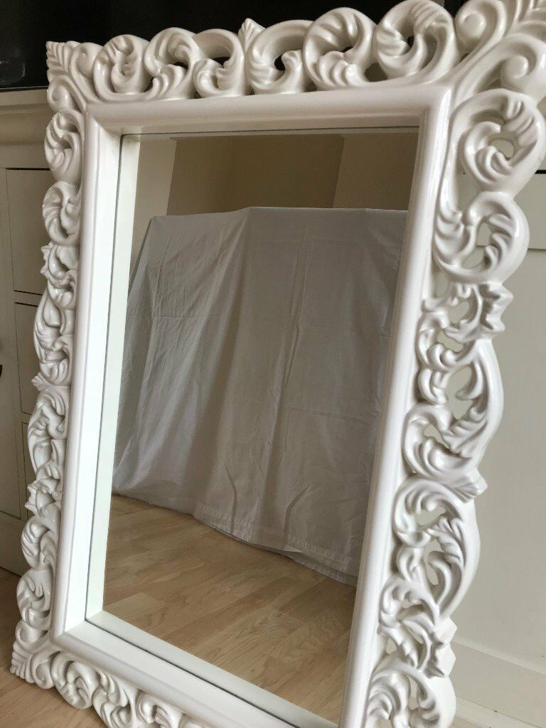 Large White Ornate Wall Mirror In Camberley Surrey