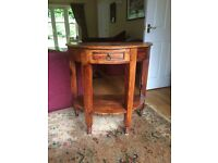 Half moon wooden console table