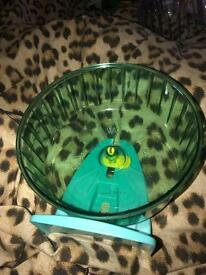 brand new 'rolly' blue/green large hamster wheel with stand