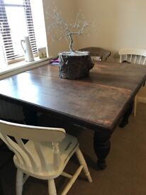 Old Solid Oak Table on castors