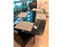 Solid Glass Dining Table & 2 chairs