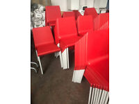 Red Stackable Chairs - Grey Frame