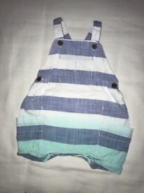 Next stripe dungarees Size 3-6 months