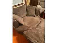 Cuddle chair and footstool Ex DFS