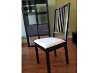 Pair of Ikea dining chairs. Black with white seat cover