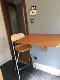 Folding Breakfast bar table and matching stools