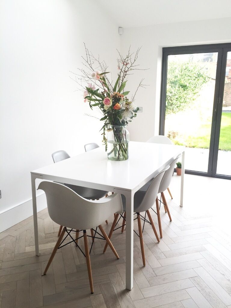 Contemporary John Lewis Dining Table Set With 6 Eames Style Chairs