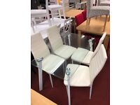 Abbey dining table and 4 chairs - white clear glass