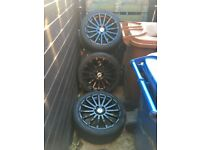 Ford focus RS black alloys 17inch 4 brand new tyres