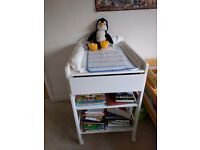 White wooden changing table in very good condition