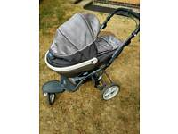 Chicco baby pram with 2 carry cots +raincover