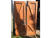 Pair of pitch pine double doors
