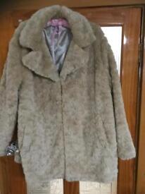 Ladies pale honey coloured faux fur 3/4 jacket size 20