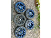 "5x Team dynamics pro race 1.2 alloys 4x100 17"" vauxhall Renault clio mini"
