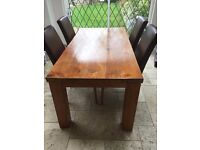 SOLID TEAK KITCHEN/DINING ROOM TABLE & 4 LEATHER STYLE CHAIRS