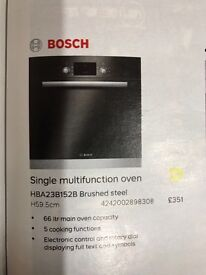 Bosch electric oven and ceramic black glass hob