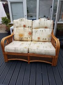 Conservatory 2 seater, 2 armchairs, footstool and tv cabinet. Very comfy, good condition £100