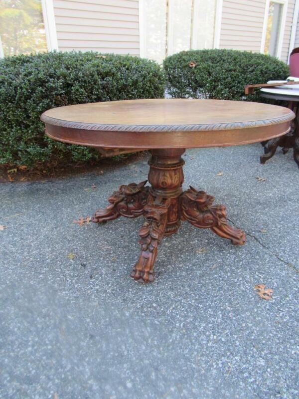 ANTIQUE 1880s VICTORIAN CARVED OAK FIGURAL GRIFFIN BASE DINING TABLE