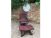 Chesterfield slipper chair & footstool available. Can deliver